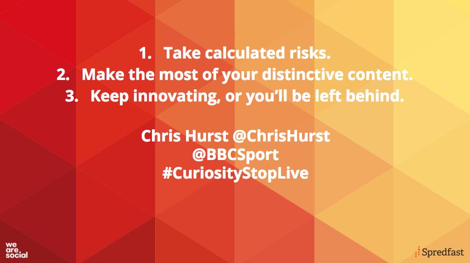 Three takeaways from @BBCSport's @ChrisHurst's talk this evening #CuriosityStopLive https://t.co/AByVXOO3eg