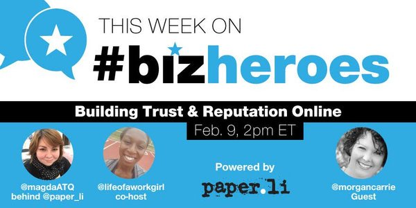 RT @allchats: #BizHeroes twitter chat is LIVE w/ @morgancarrie! https://t.co/iCoarusFBV