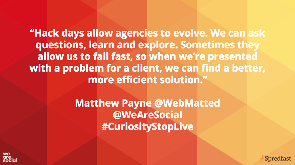 Why hack? @WebMatted explains how hack days can help agencies learn quickly #CuriosityStopLive https://t.co/npxFO1O8iD