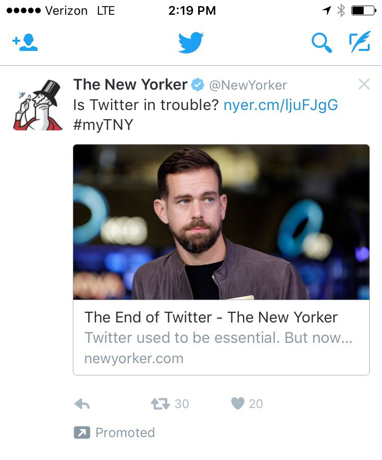 The @NewYorker buying Twitter ads to promote its article about how Twitter is dying kind of undercuts the thesis https://t.co/z4uMb0EF6F