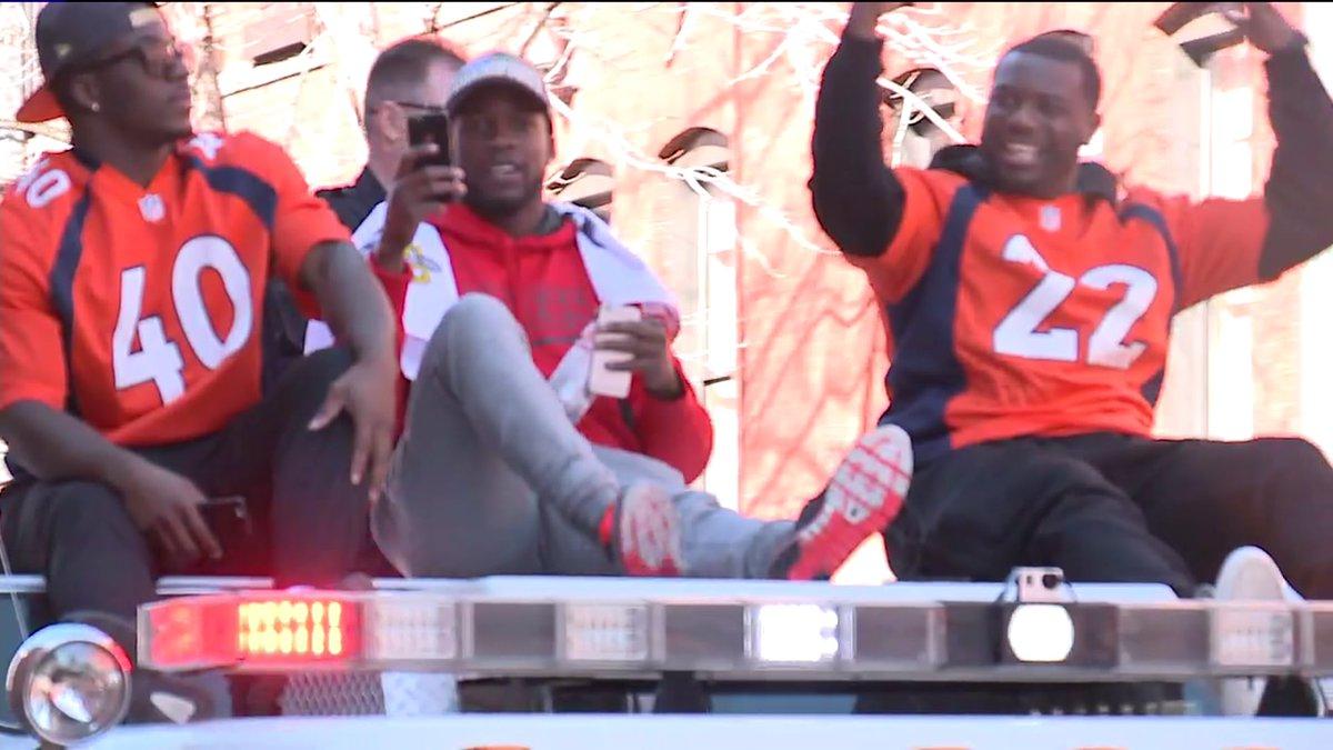 BroncosParade Running back C.J. Anderson @cjandersonb22 loving it!!!