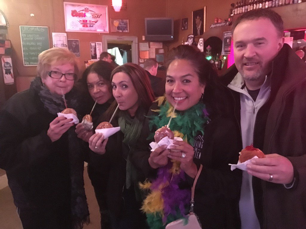 First five in line for vodka-infused Paczki Bombs at @SmallsBar in Hamtramck. Get em while they last! @FreepEnt