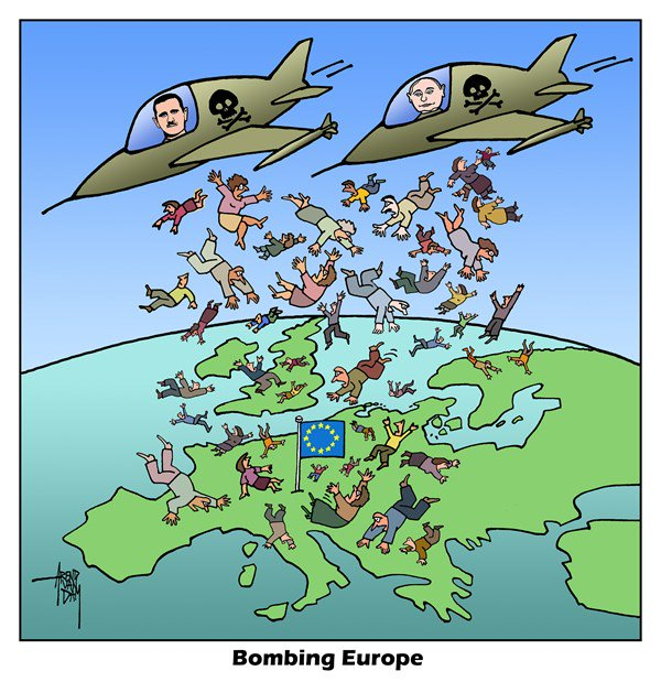 Europe Cartoon DamRussia Strategy Refugee Van Arend 43L5qRAj