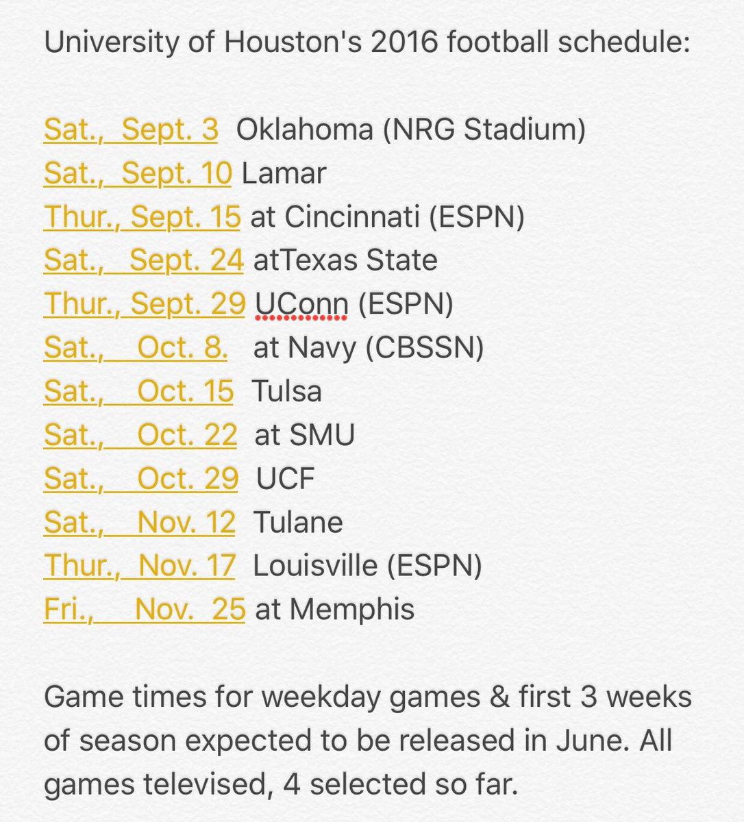 University of Houston's 2016 football schedule