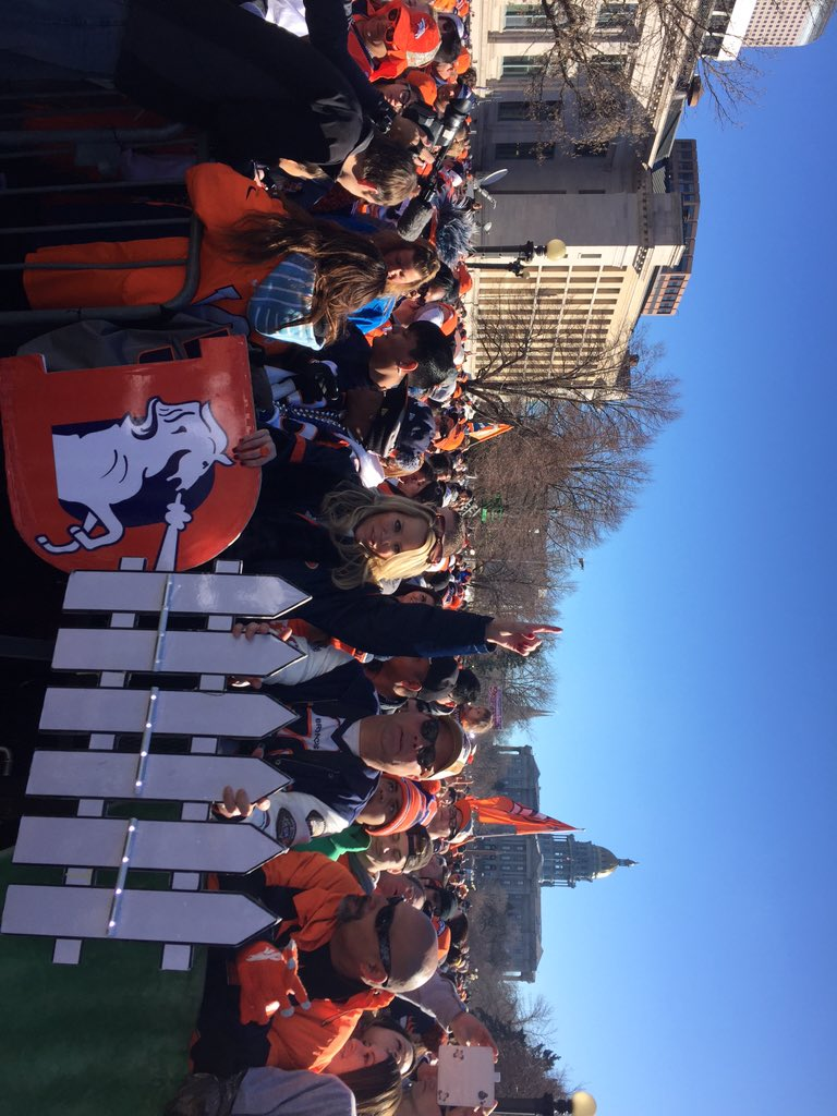 Crowds are ready for broncos rally and parade! Concert starts soon. wearebroncos