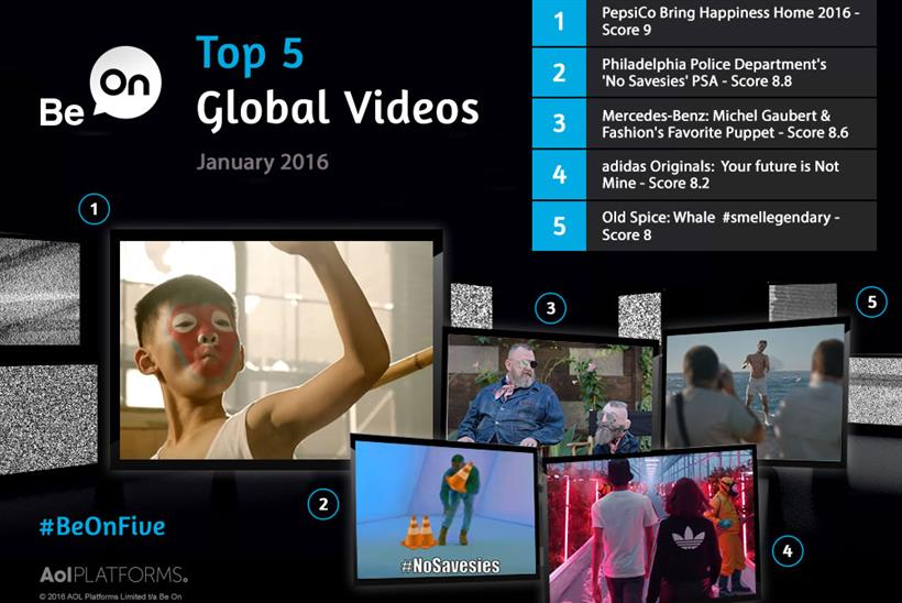 .@Be_On lists the top 5 global brand videos for Jan 2016, including @pepsi and @adidas https://t.co/JM7zHMNN7j https://t.co/MSfXC0YnJe