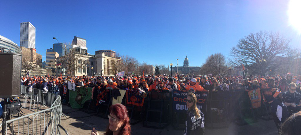 Go Broncooooooooos! Just some of the crowd at Civic Center Park. wearebroncos sb50