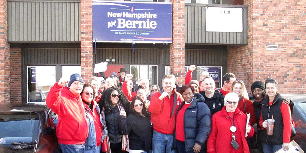 Go @BernieSanders, Go! @CWAUnion and union allies are working hard for you in the #NHPrimary! #FITN https://t.co/zs2KYNFvL3