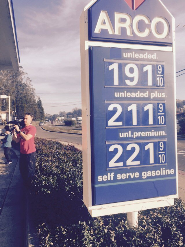 Arco in Mill Valley lowered gas price this morning. Customers are thrilled!
