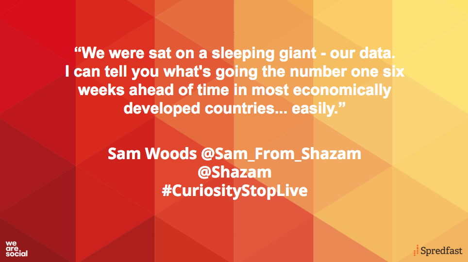 .@Sam_From_Shazam kicks off our evening by looking at @Shazam both now and in the future #CuriosityStopLive https://t.co/c96CGECHQy