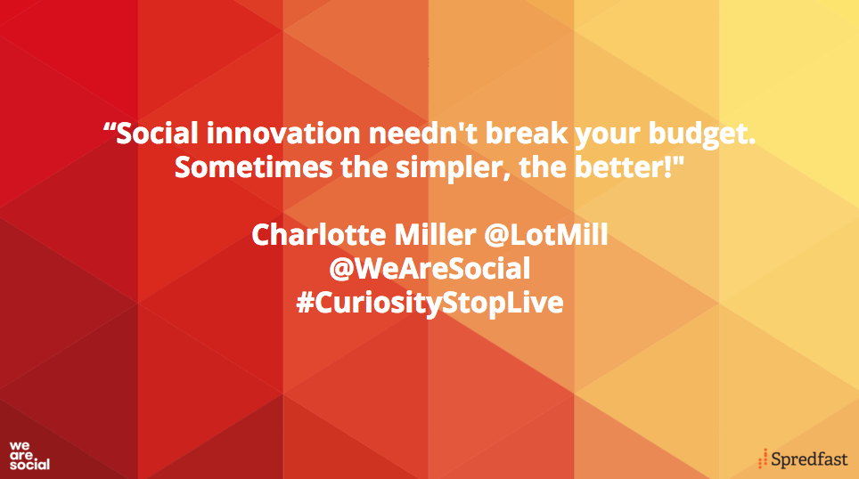 According to Curiosity Stop report writer @LotMill, innovation can be cheap but still clever #CuriosityStopLive https://t.co/o9HK4lg497