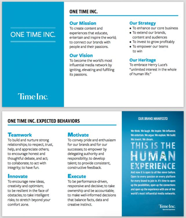 'We Are Now One Time Inc.': Time Inc. passes out company culture cards https://t.co/pyLj5w3n3Q https://t.co/tf2qPrT3fk