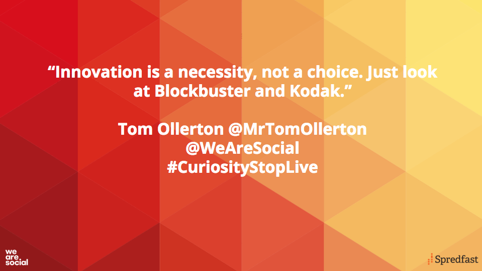 Deciding not to embrace innovation isn't an option, according to @MrTomOllerton #CuriosityStopLive https://t.co/1VulhUMwIE