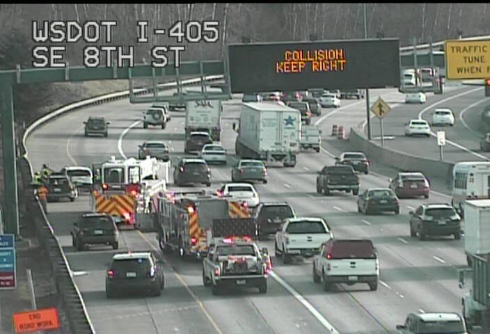 And off to Bellevue we go... SB I-405 at SE 8th St, a collision is blocking the HOV lane.
