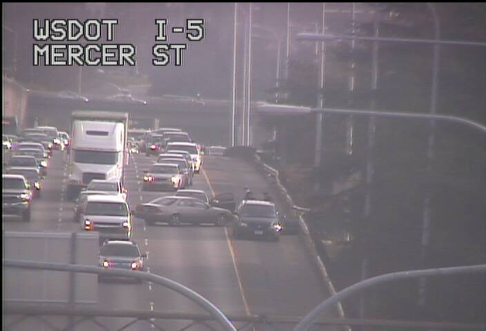 How in the...? NB I-5 at Mercer St, a collision is blocking the left lane.