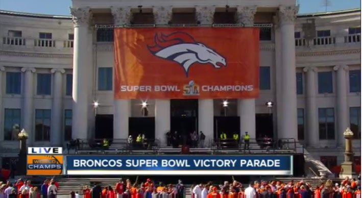 What are you doing right now? Watching the BroncosParade of course. LIVE RIGHT NOW