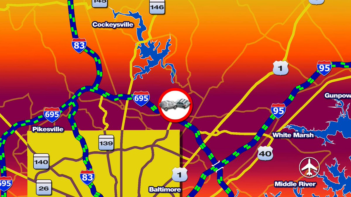 Crash on the OL of I-695 @ Perring Pkwy blocking the left and right shoulder.@cbsbaltimore