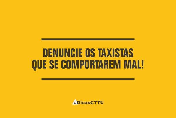 Atenção! Taxistas não podem escolher corridas nem cobrar antecipadamente. Denuncie ao nosso 0800 081 1078 #dicasCTTU https://t.co/WnOOAH5TFo