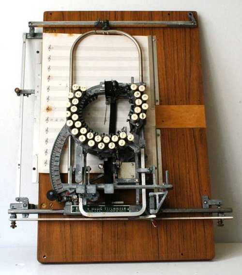 So beautiful. Keaton Music Typewriter, designed for creating musical scores, 1936. (Thank you @collectorswkly )