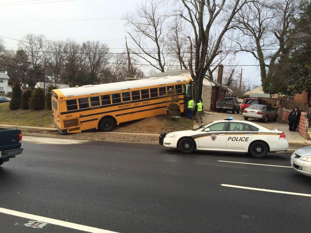 MCPS bus ran off the road at Connecticut Ave and Randolph Rd in Wheaton. @wusa9