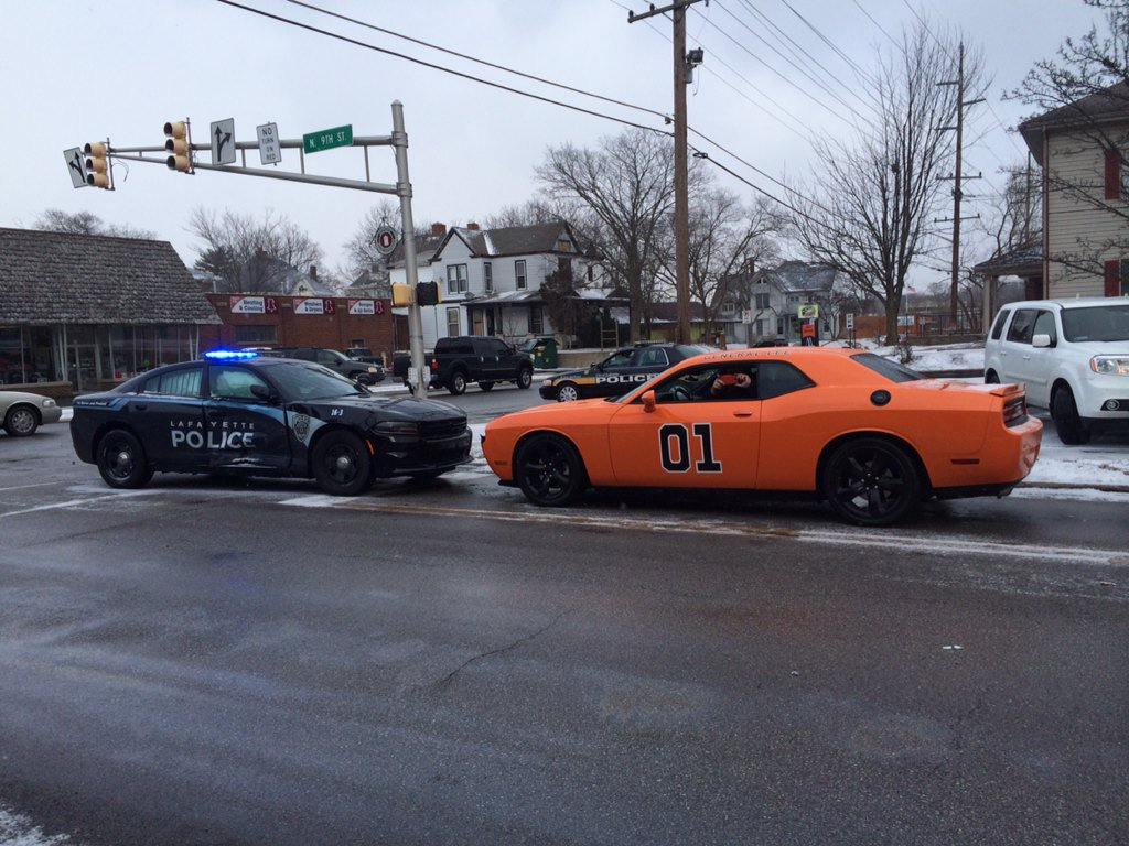 General Lee style painted car struck head on by Lafayette Squad Car TBoned during lights & sirens run @LafayettePD