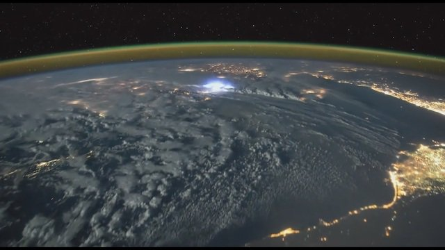 Time-lapse of Lightning Strikes from space