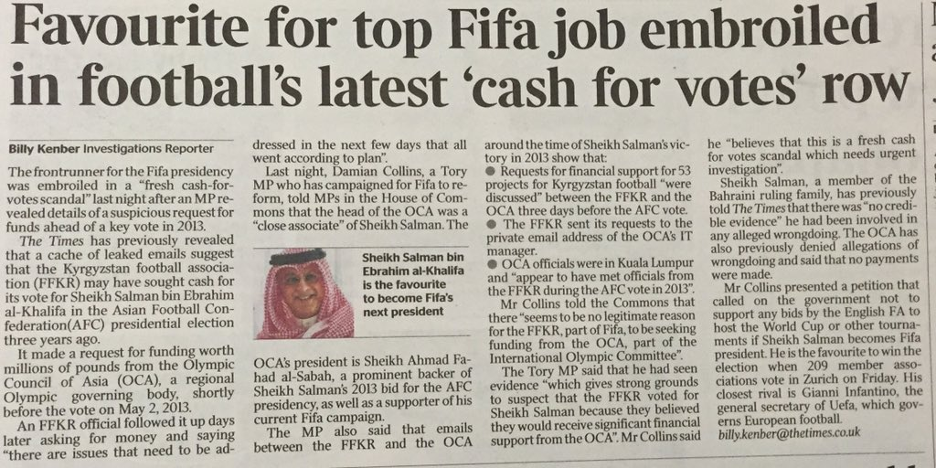 My allegations regarding Sheikh Salman reported by @billykenber @thetimes #FIFA @newfifanow https://t.co/JzxqTI7pCE