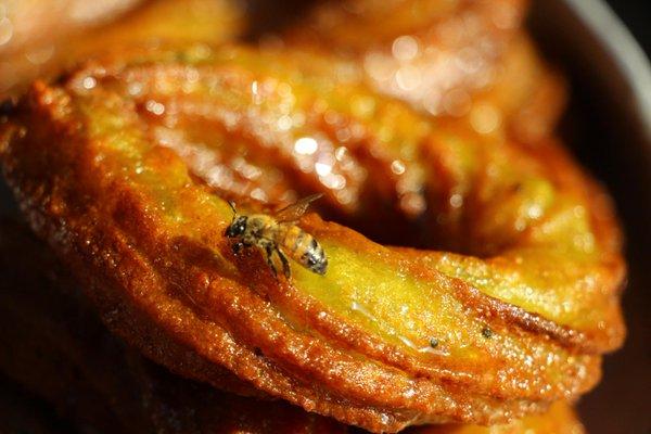 ハルカと呼ばれる 馬の蹄に似たU字型のお菓子。生地を絞り器で出して揚げて、シロップに浸したもの。外はかりかりで、中からはじゅーーとシロップが出てくる。蜜蜂も蜜を吸いにやってくるのはよくあること。 https://t.co/NMpz2d1t2d