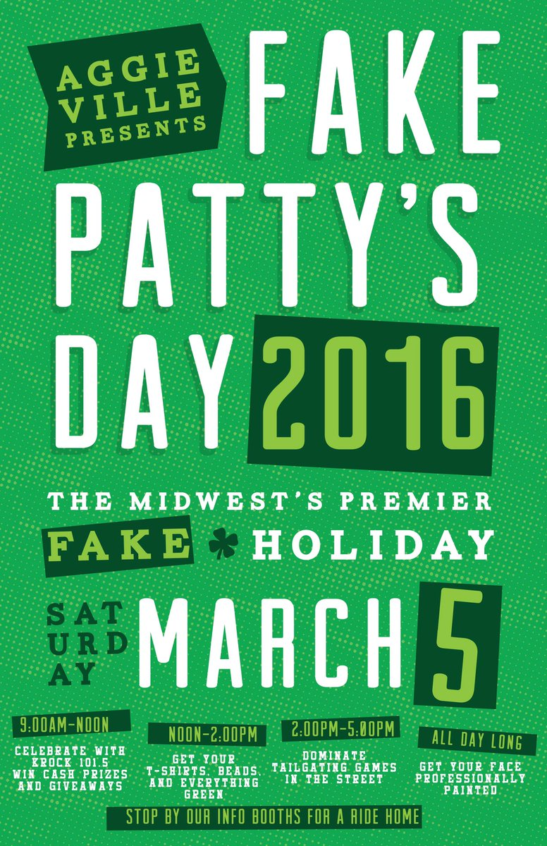 Mark Your Calendars for Saturday, March 5th! It's Fake Patty's Day! Featuring @1015krock! ☘ #Aggieville https://t.co/lMtIwDA38I