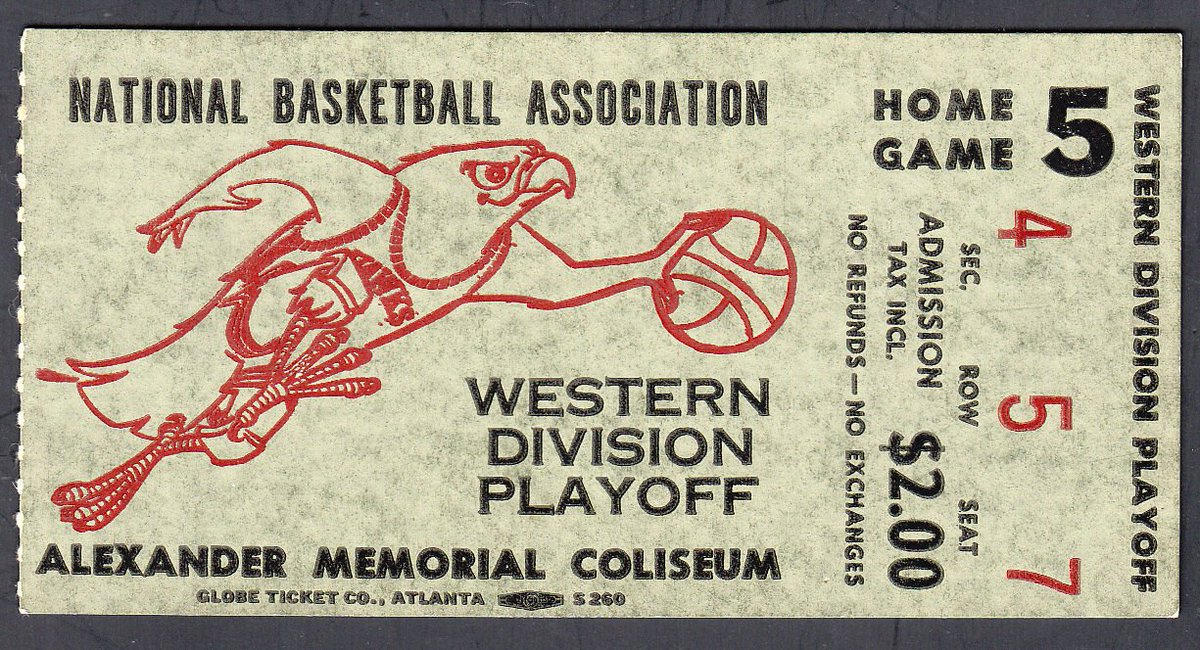 Amazing old school @ATLHawks ticket stub from the '69 Playoffs. https://t.co/jY3negtome
