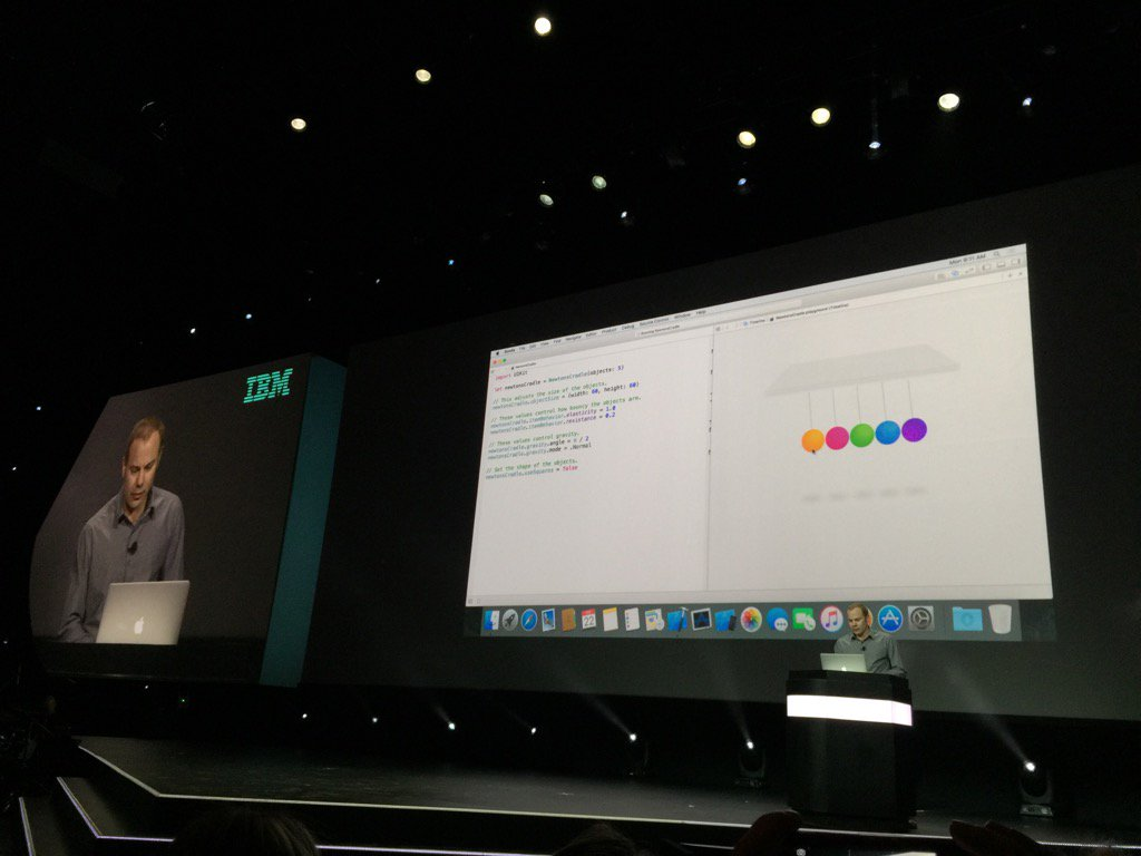 Apple is demoing the ease of coding with Playgrounds and Swift live at #ibminterconnect https://t.co/mtrPrAL0Nm https://t.co/rAATi1jYMv