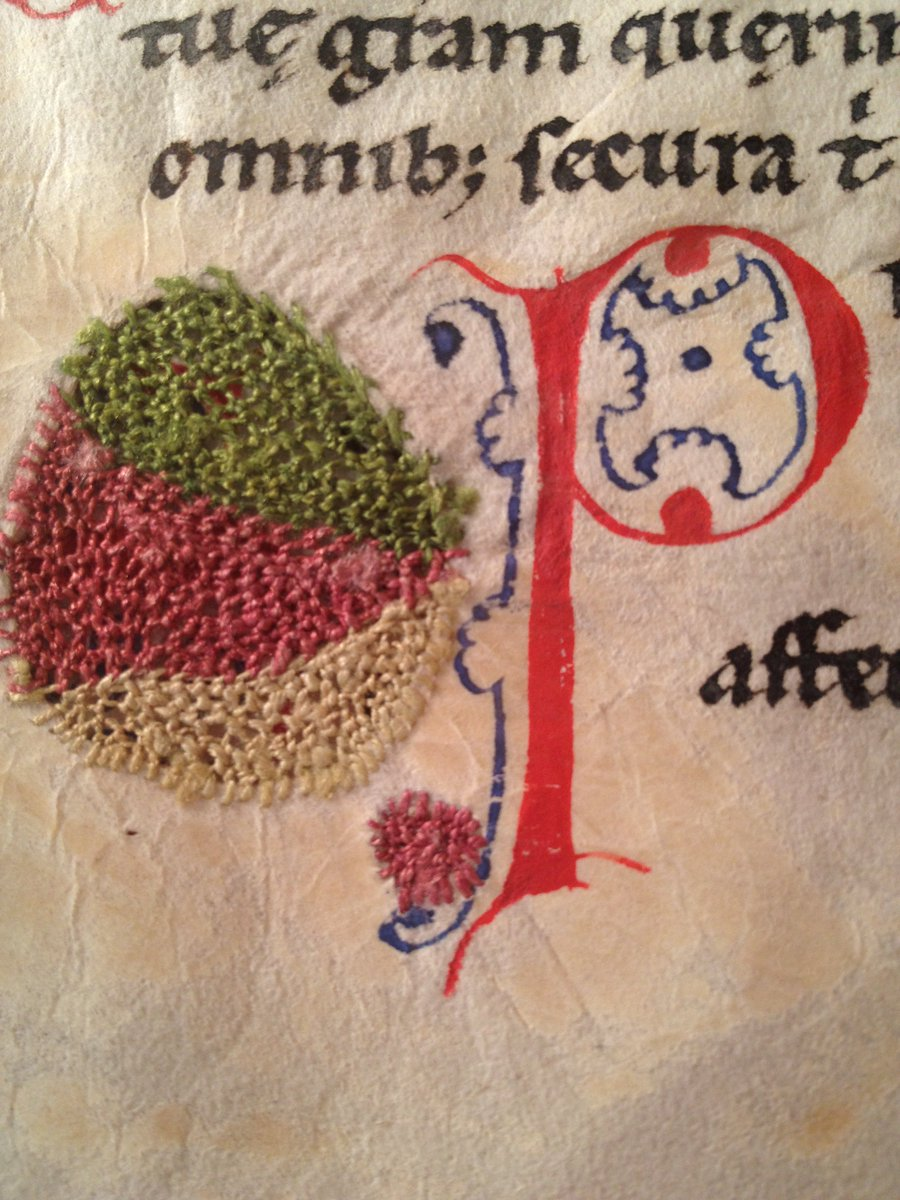 Shown here is a rare example of embroidered repairs to parchment. We have 2 manuscripts with these types of repairs. https://t.co/k7sdOOB1Yq
