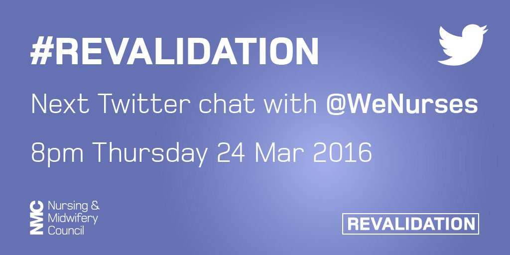 Our next chat w/ @WeNurses 8pm 24th March, we'll be talking about confirmation & application process #revalidation https://t.co/YtfHBQK4kc