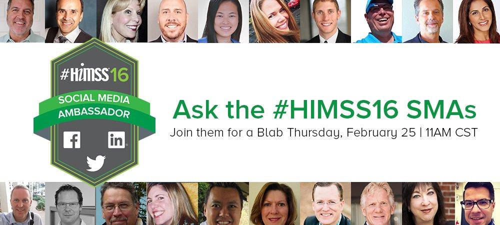 Ask the #HIMSS16 Social Media Ambassadors (SMAs) https://t.co/QgvlbXUbHX Come chat with us live! https://t.co/SeeFiDhpBq