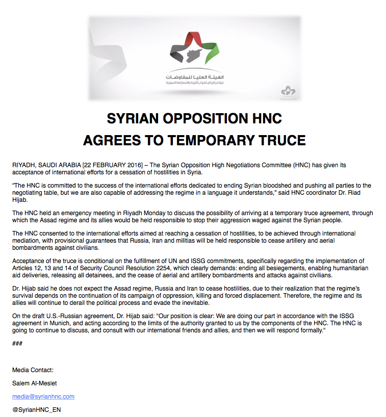 Syria Opposition Snc On Twitter Syrias Opposition Hnc Agrees To