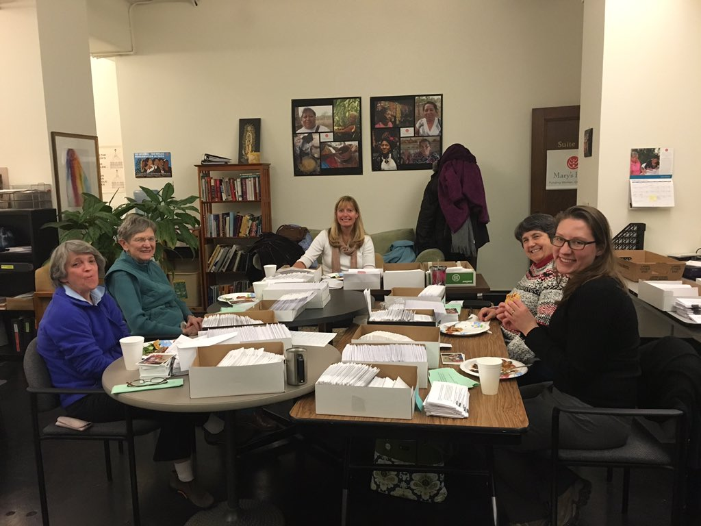 Thank you Mary's Pence volunteers for your help with the mailing party! #InternationalWomensDay https://t.co/6z7HX3udHW