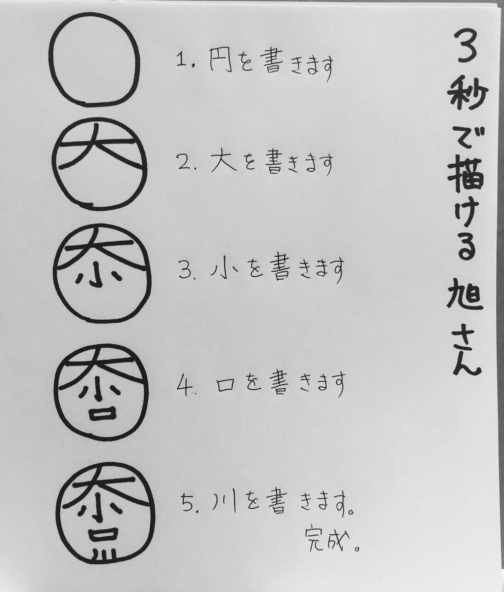 【3秒で描ける旭さん講座】 円の中に、大小口川って縦に書くだけで烏野のエースが!