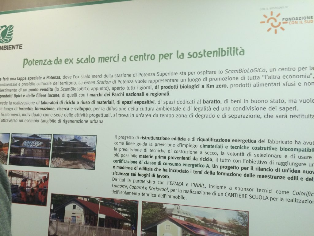 #Potenza diventa centro per la sostenibilità #green station @TrenoVerde 2016 @Legambiente https://t.co/0fVBa1zhhA