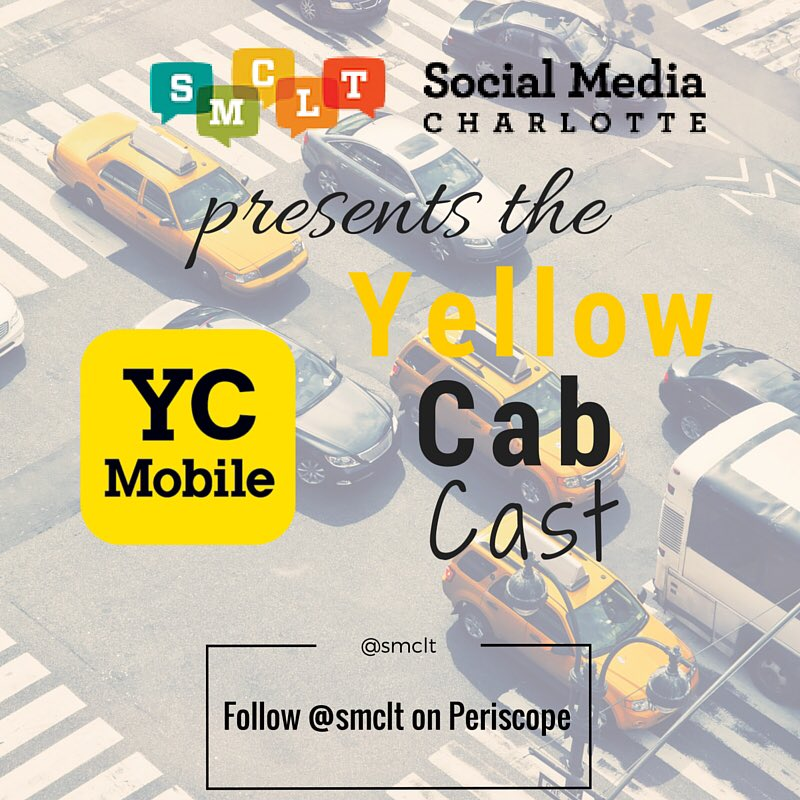We're launching the @smclt periscope account w/ a cool series sponsored by @YellowCabCLT tomorrow am #yellowcabcast https://t.co/3dWFLlh6fS