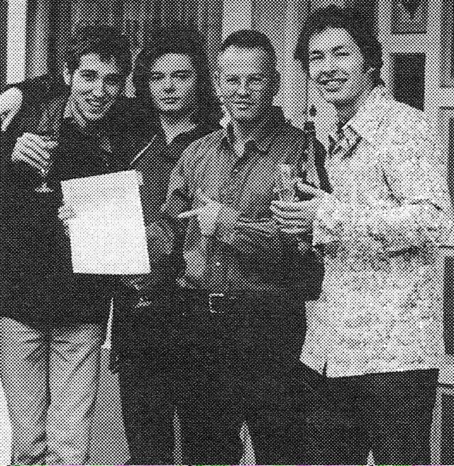 Genesis. A rare picture of Daft Punk getting signed to Virgin Records in 1996. https://t.co/EzxkojYj3p