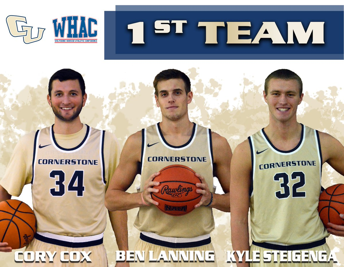 """Cornerstone MBB on Twitter: """"Ben Lanning, Cory Cox, and Kyle Steigenga named @WHACAthletics 1st Team All-Conference. https://t.co/mKjcFX1c5D"""""""