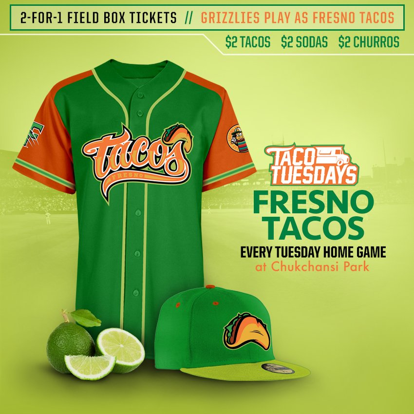 .@FresnoGrizzlies to suit up as #FresnoTacos for every Tuesday home game. My blog post:   https://t.co/AZlH3kh6BZ https://t.co/YKOawoI1qP