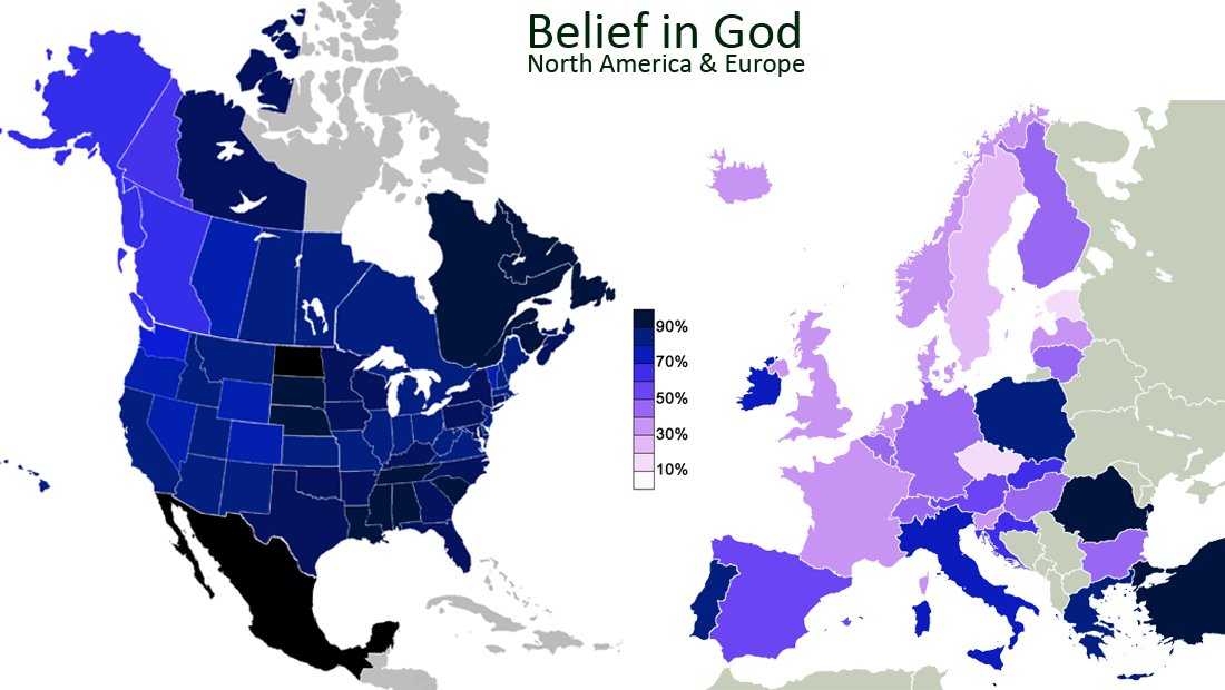 Amazing maps on twitter belief in god north america compared never miss a moment gumiabroncs Image collections