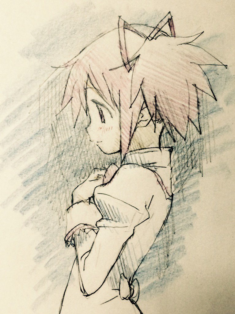 たぶん叛逆の前に描いたラクガキ。捨てようとしたヤレ紙裏にあったやつ。折角なので pic.twitter.com/qdrSXr5BrB
