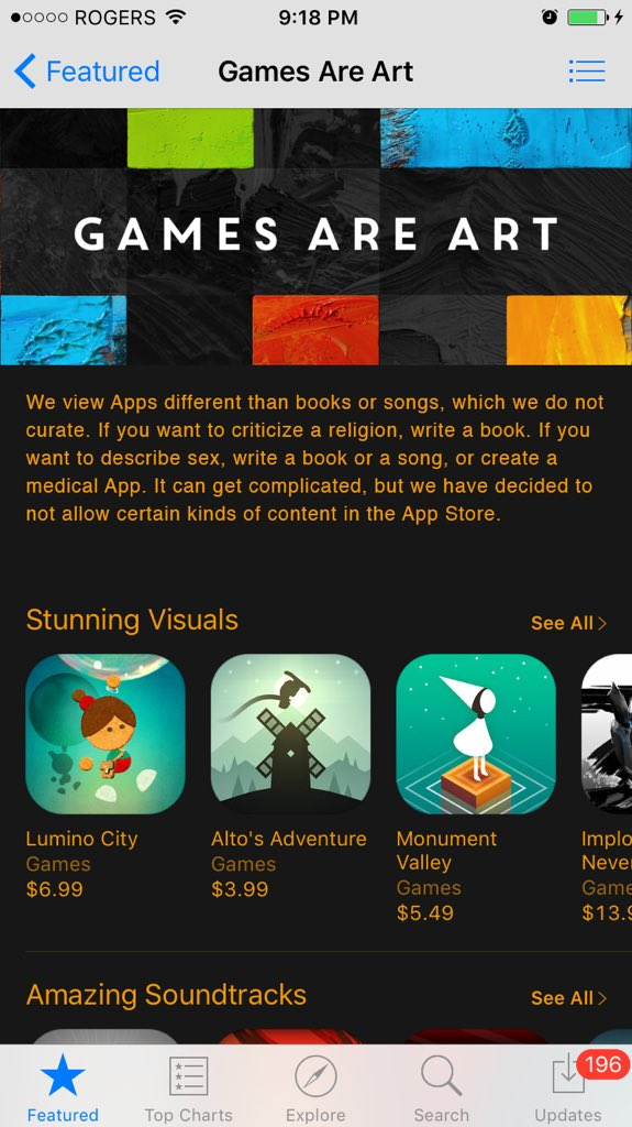 "Hey @AppStore, I fixed your ""Games Are Art"" feature by using text directly from the App Store Review Guidelines: https://t.co/DDa11gE6eZ"