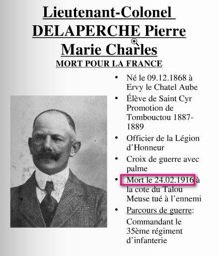 #1J1P DELPERCHE Pierre, lieut-colonel au 35e, tué à Champneuville, côte du Talou, le 24 février 1916 #PoilusVerdun https://t.co/kQzm4GGjDq