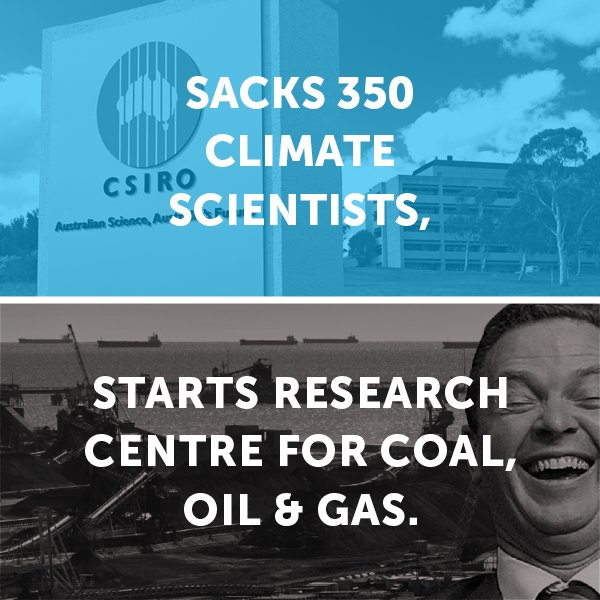 Is @cpyne having us on? Starting a $15million coal, oil and gas centre after sacking 350 climate scientists. #auspol https://t.co/8wpgum124o