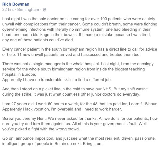 Bam. I wonder if Jeremy Hunt really knows what he's just let himself in for. #juniordoctors https://t.co/FsBHvjJA94