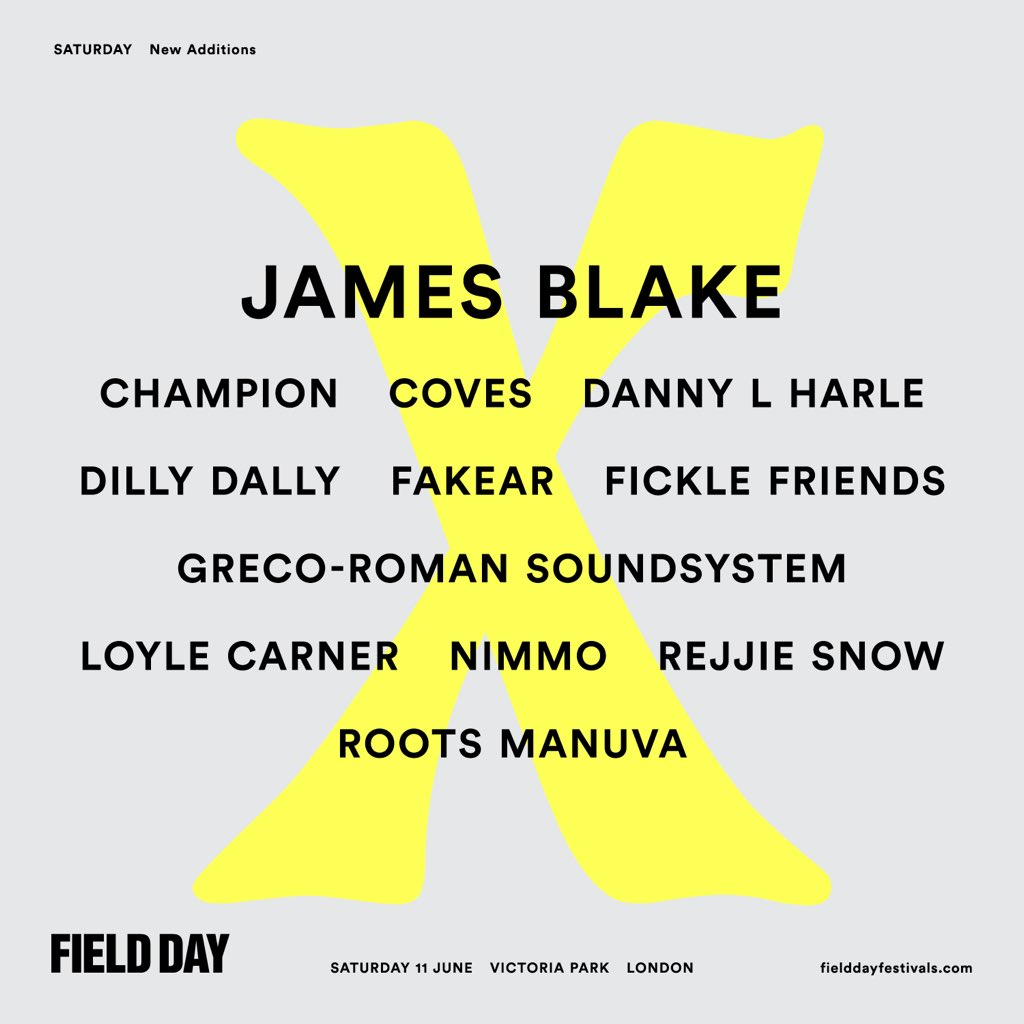 Field Day Saturday additions are here!  RT to win 6 VIP weekend tickets!  https://t.co/zdwJj0sAIr  #FieldDayis10 https://t.co/xMrwO4VRX0
