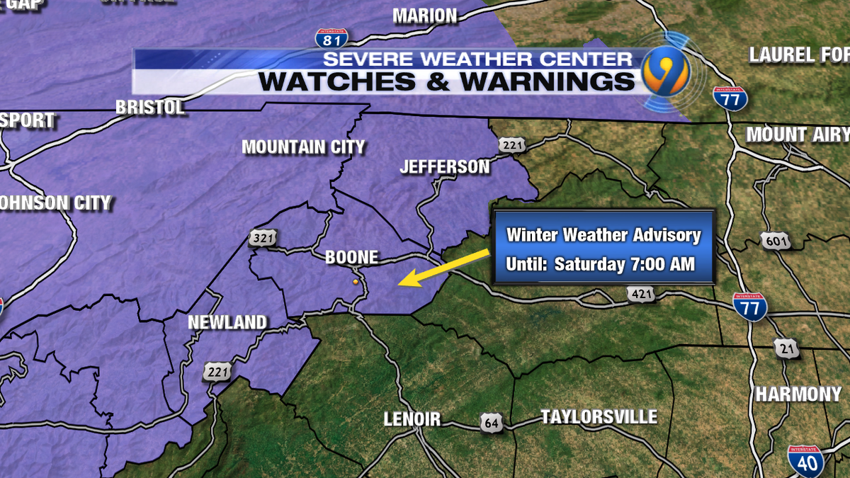 A Winter Weather Advisory in place today for the high country. Light snow picks up into tonight. 1-3 inches. ncwx
